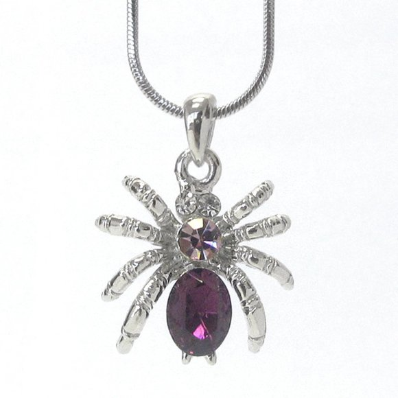 chocolate diamonds Jewelry - White gold plated spider necklace pendant